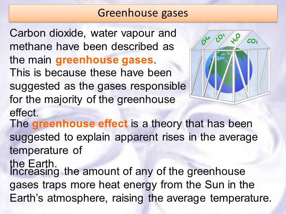 Carbon dioxide, water vapour and methane have been described as the main greenhouse gases. The greenhouse effect is a theory that has been suggested t