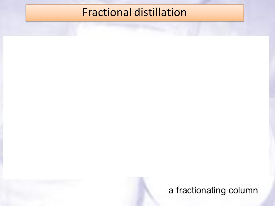 Fractional distillation a fractionating column
