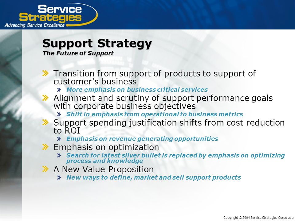 Copyright © 2004 Service Strategies Corporation Support Strategy The Future of Support Transition from support of products to support of customers bus