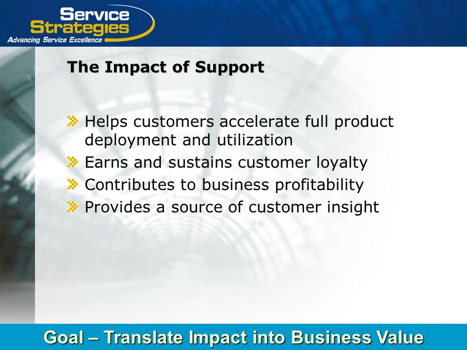 Copyright © 2004 Service Strategies Corporation The Impact of Support Helps customers accelerate full product deployment and utilization Earns and sus