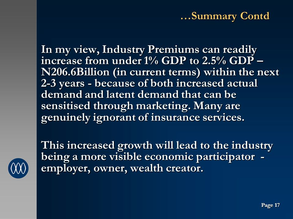 …Summary Contd In my view, Industry Premiums can readily increase from under 1% GDP to 2.5% GDP – N206.6Billion (in current terms) within the next 2-3 years - because of both increased actual demand and latent demand that can be sensitised through marketing.
