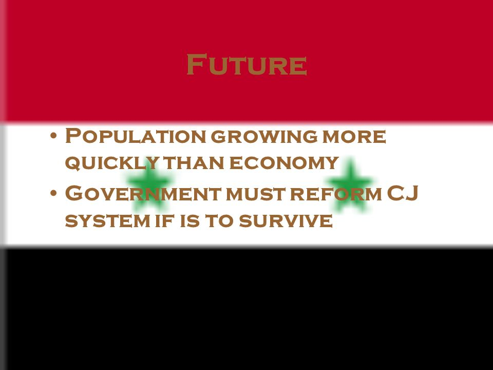 Future Population growing more quickly than economy Government must reform CJ system if is to survive