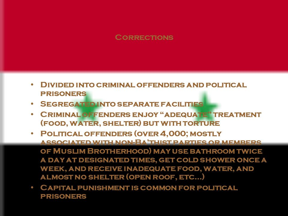 Corrections Divided into criminal offenders and political prisoners Segregated into separate facilities Criminal offenders enjoy adequate treatment (food, water, shelter) but with torture Political offenders (over 4,000; mostly associated with non-Bathist parties or members of Muslim Brotherhood) may use bathroom twice a day at designated times, get cold shower once a week, and receive inadequate food, water, and almost no shelter (open roof, etc…) Capital punishment is common for political prisoners