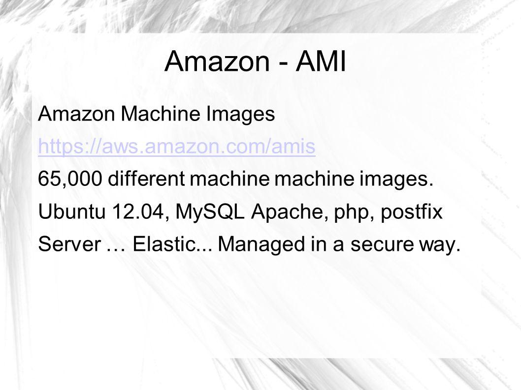 Amazon - AMI Amazon Machine Images https://aws.amazon.com/amis 65,000 different machine machine images.