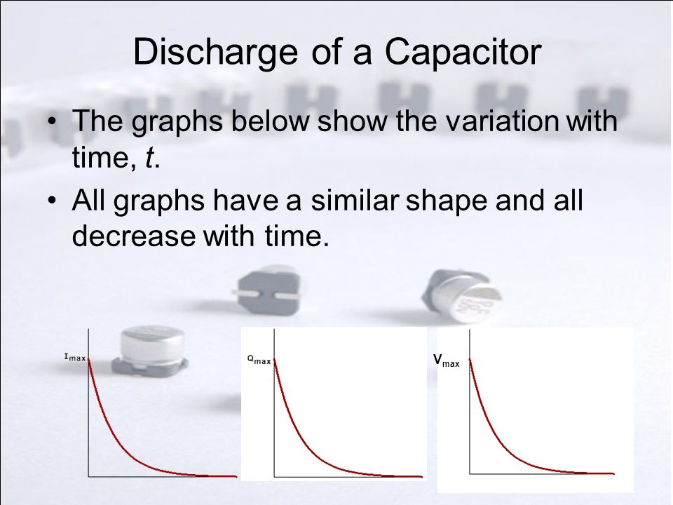 Discharge of a Capacitor The graphs below show the variation with time, t. All graphs have a similar shape and all decrease with time. V max