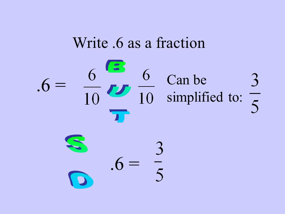 Write.6 as a fraction.6 = Can be simplified to:.6 =