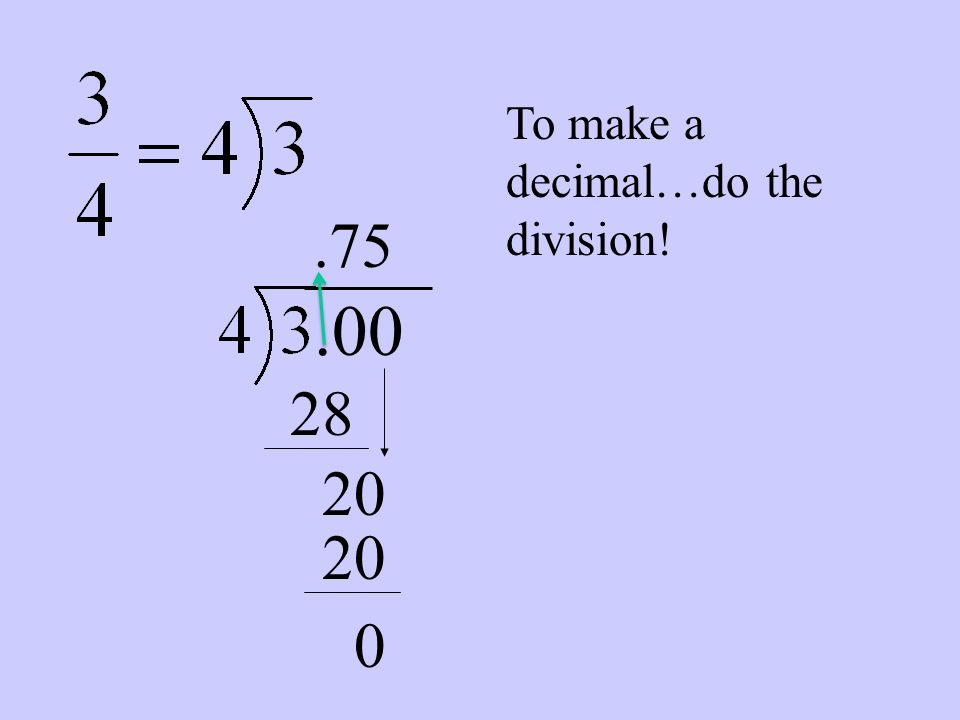 One more thing……… When you divide, REMEMBER, add zeros to finish your division. 2 THINGS CAN HAPPEN