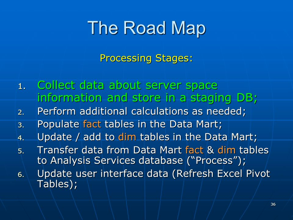 36 The Road Map Processing Stages: 1.