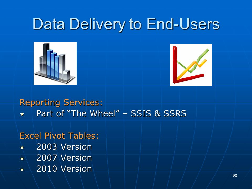 60 Data Delivery to End-Users Reporting Services: Part of The Wheel – SSIS & SSRS Part of The Wheel – SSIS & SSRS Excel Pivot Tables: 2003 Version 2003 Version 2007 Version 2007 Version 2010 Version 2010 Version