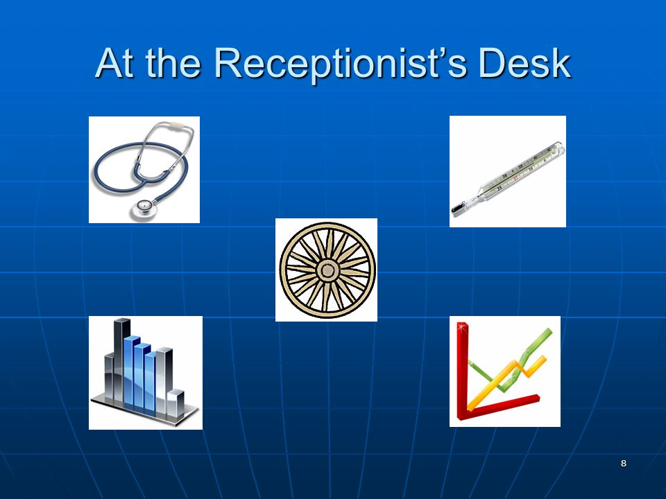 9 Advice from the Receptionist As we walk down the hallway to the conference room for your interview, let me tell you a little bit about Bens Analysis Services project: The Stethoscope The Stethoscope The Thermometer The Thermometer The Wheel The Wheel The Charts The Charts