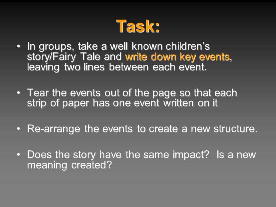 Task: In groups, take a well known childrens story/Fairy Tale and write down key events, leaving two lines between each event.In groups, take a well k