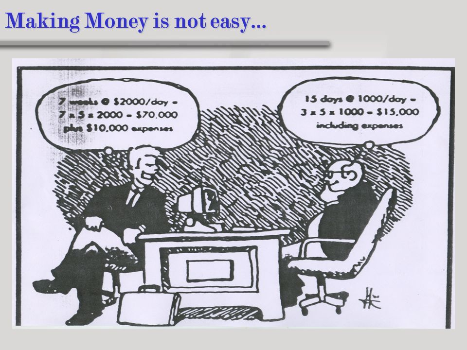 Making Money is not easy…