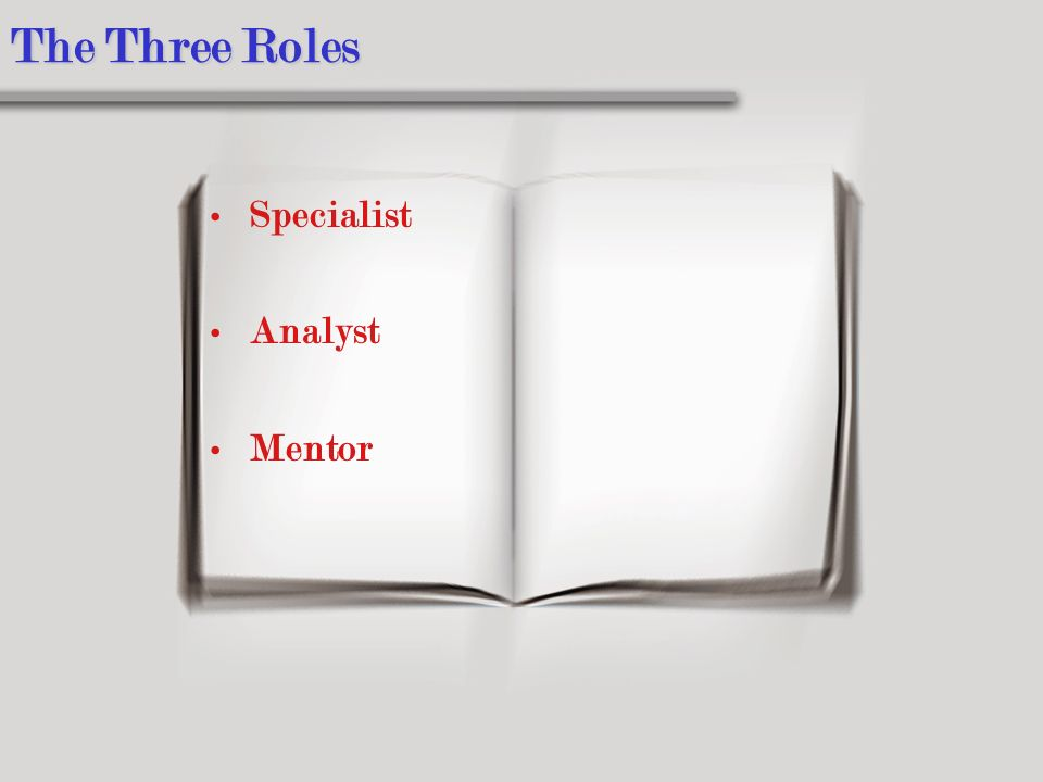 The Three Roles Specialist Analyst Mentor