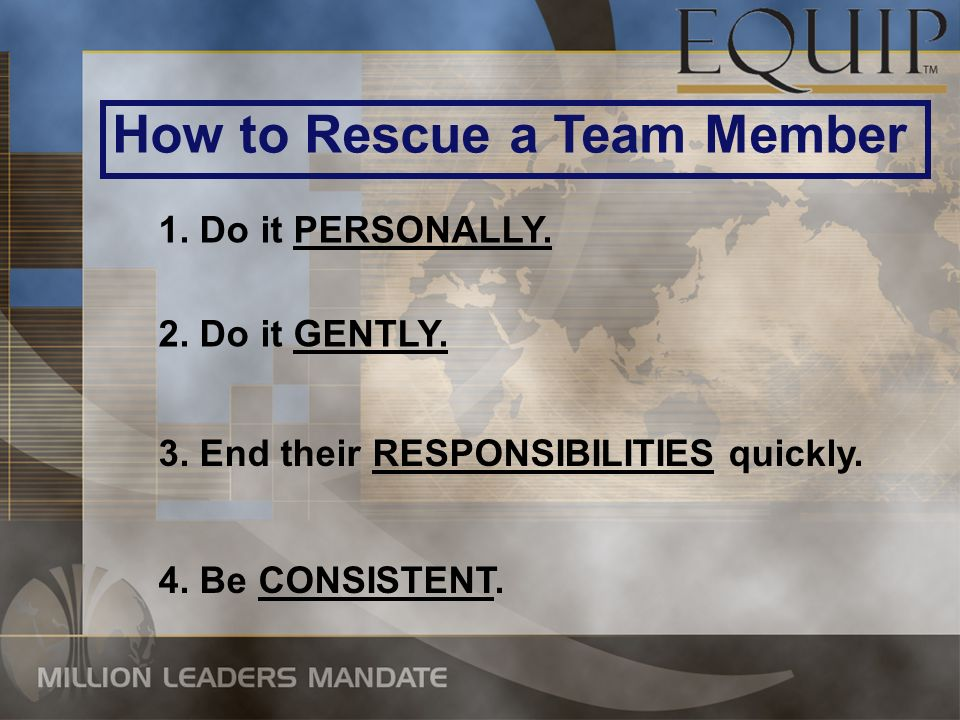 How to Rescue a Team Member 2. Do it GENTLY. 3. End their RESPONSIBILITIES quickly.