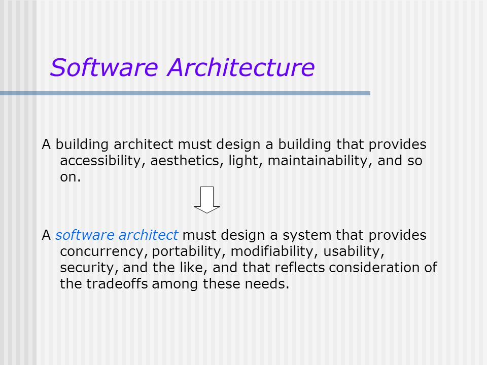 A building architect must design a building that provides accessibility, aesthetics, light, maintainability, and so on. A software architect must desi