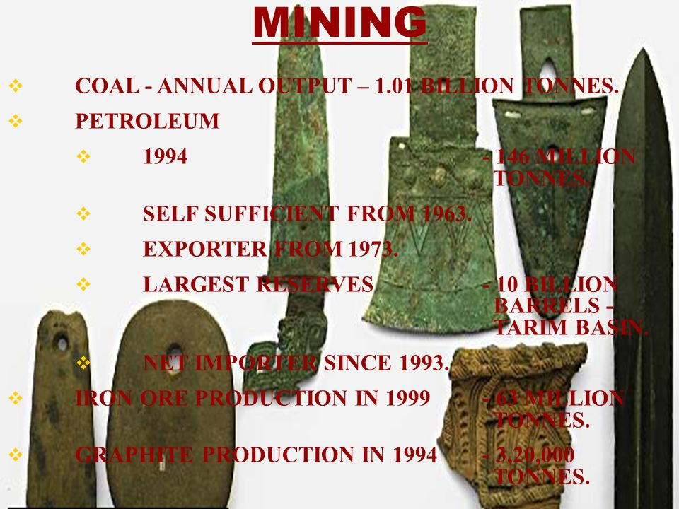 COAL - ANNUAL OUTPUT – 1.01 BILLION TONNES. PETROLEUM 1994- 146 MILLION TONNES. SELF SUFFICIENT FROM 1963. EXPORTER FROM 1973. LARGEST RESERVES - 10 B