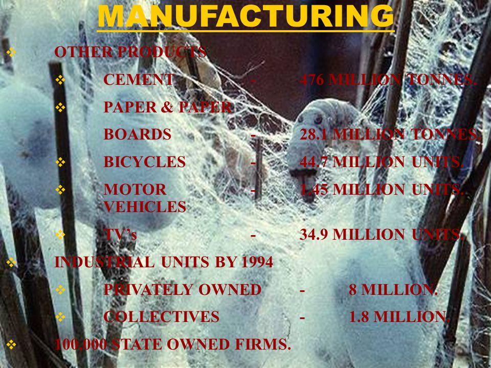 OTHER PRODUCTS CEMENT-476 MILLION TONNES. PAPER & PAPER BOARDS-28.1 MILLION TONNES. BICYCLES-44.7 MILLION UNITS. MOTOR -1.45 MILLION UNITS. VEHICLES T