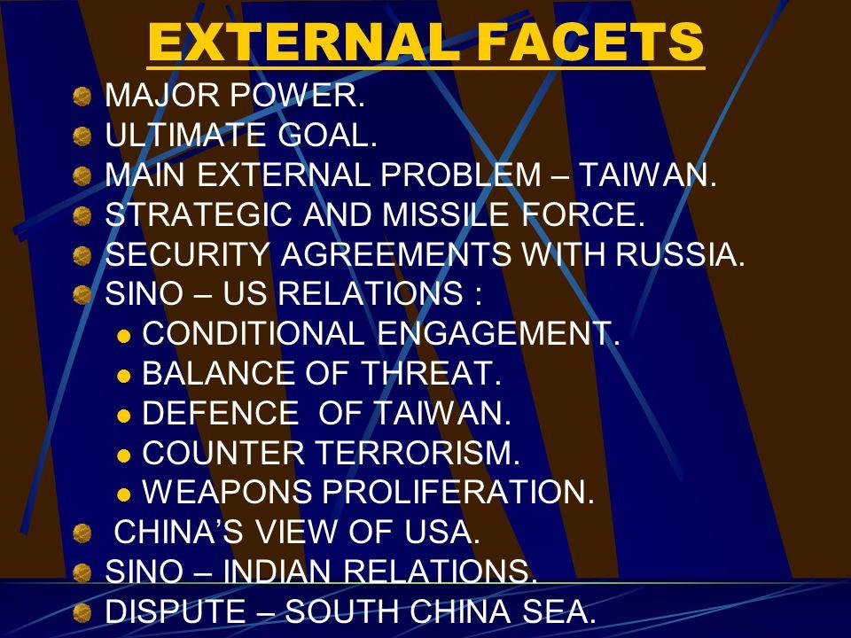 EXTERNAL FACETS MAJOR POWER. ULTIMATE GOAL. MAIN EXTERNAL PROBLEM – TAIWAN.