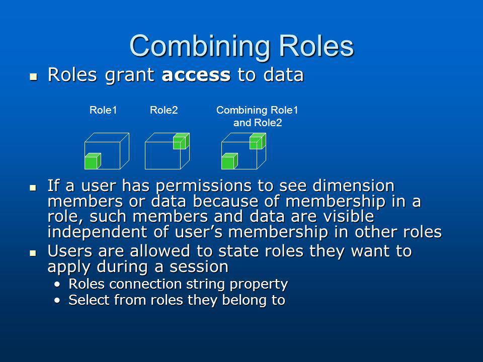 Combining Roles Roles grant access to data Roles grant access to data If a user has permissions to see dimension members or data because of membership
