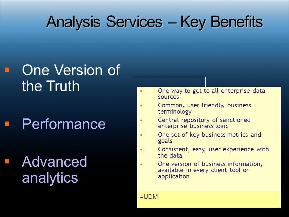 One Version of the Truth Performance Advanced analytics One way to get to all enterprise data sources Common, user friendly, business terminology Cent