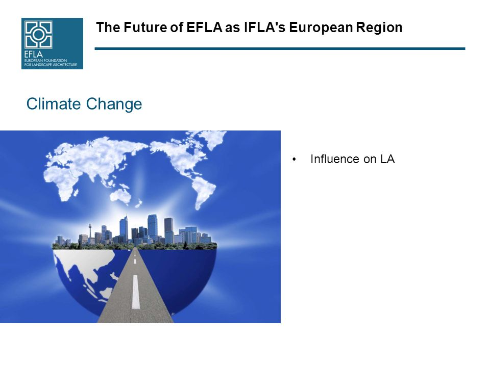 The Future of EFLA as IFLA's European Region Climate Change Influence on LA