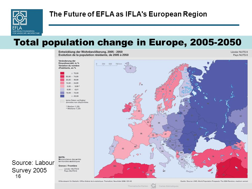 The Future of EFLA as IFLA s European Region 16 Source: Labour Force Survey 2005 Total population change in Europe,
