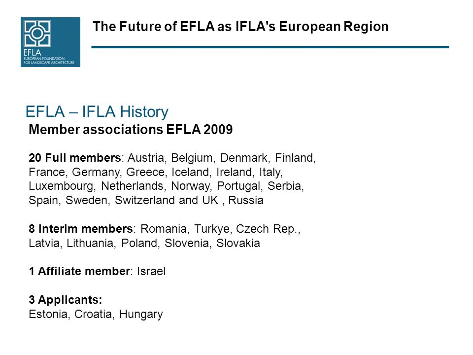 The Future of EFLA as IFLA s European Region EFLA – IFLA History Member associations EFLA Full members: Austria, Belgium, Denmark, Finland, France, Germany, Greece, Iceland, Ireland, Italy, Luxembourg, Netherlands, Norway, Portugal, Serbia, Spain, Sweden, Switzerland and UK, Russia 8 Interim members: Romania, Turkye, Czech Rep., Latvia, Lithuania, Poland, Slovenia, Slovakia 1 Affiliate member: Israel 3 Applicants: Estonia, Croatia, Hungary