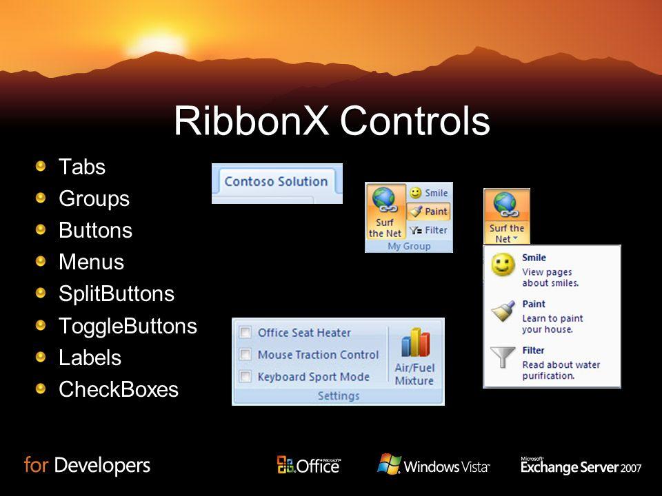 RibbonX Controls TabsGroupsButtonsMenusSplitButtonsToggleButtonsLabelsCheckBoxes