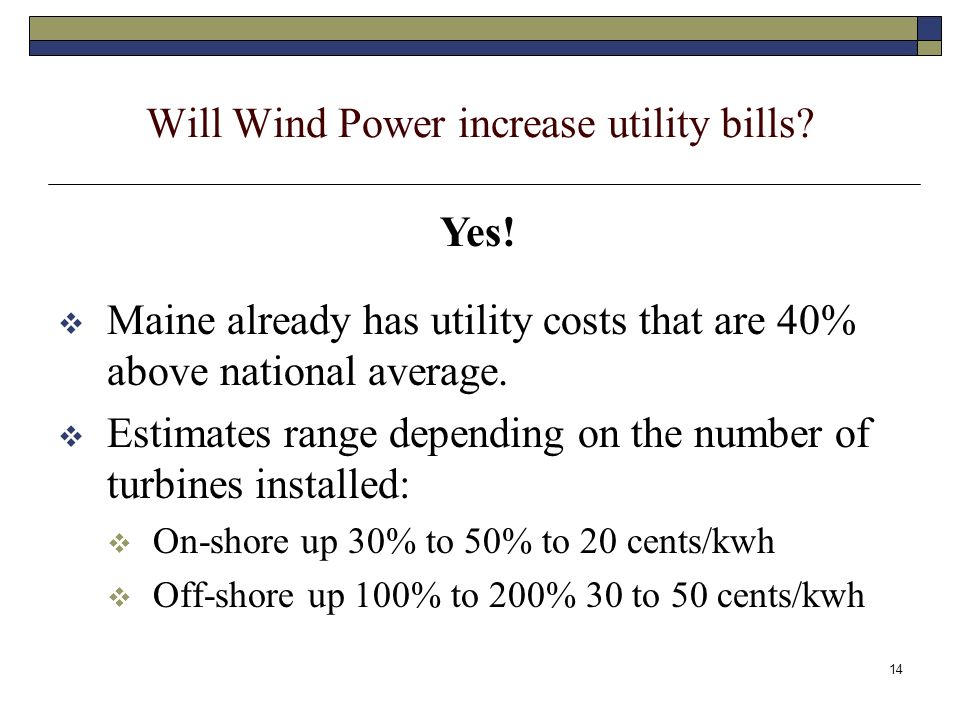 14 Will Wind Power increase utility bills.