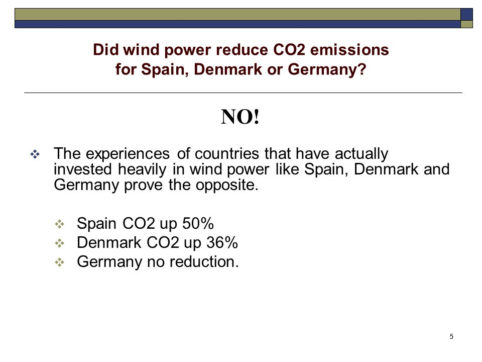 5 5 Did wind power reduce CO2 emissions for Spain, Denmark or Germany.
