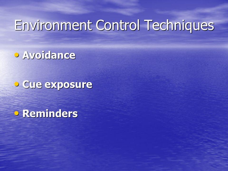 Environment Control Techniques Avoidance Avoidance Cue exposure Cue exposure Reminders Reminders