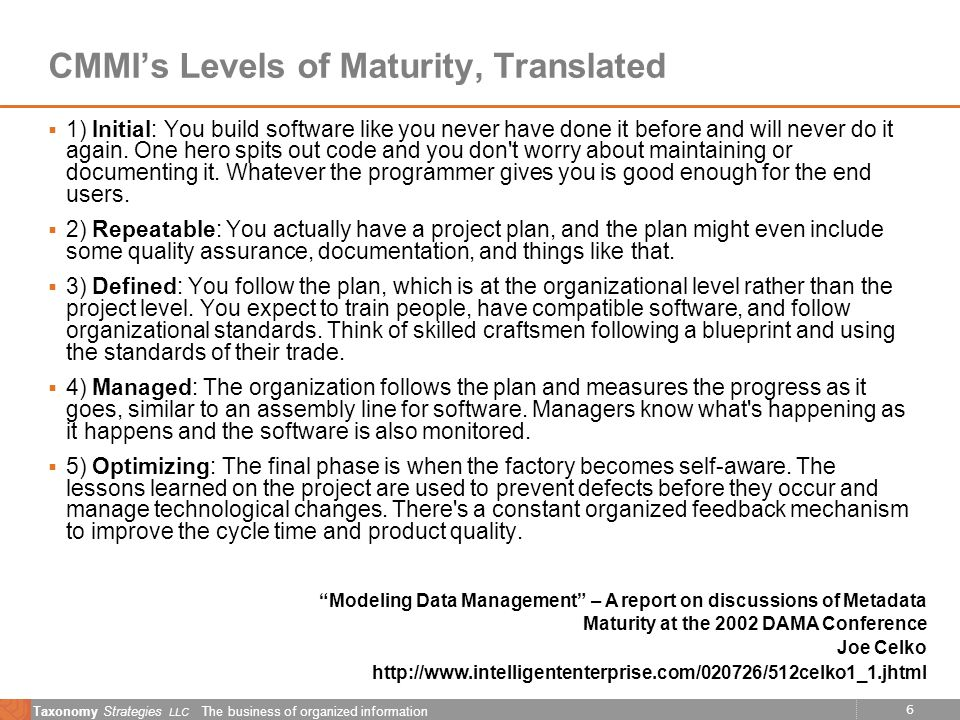 6 Taxonomy Strategies LLC The business of organized information CMMIs Levels of Maturity, Translated 1) Initial: You build software like you never have done it before and will never do it again.