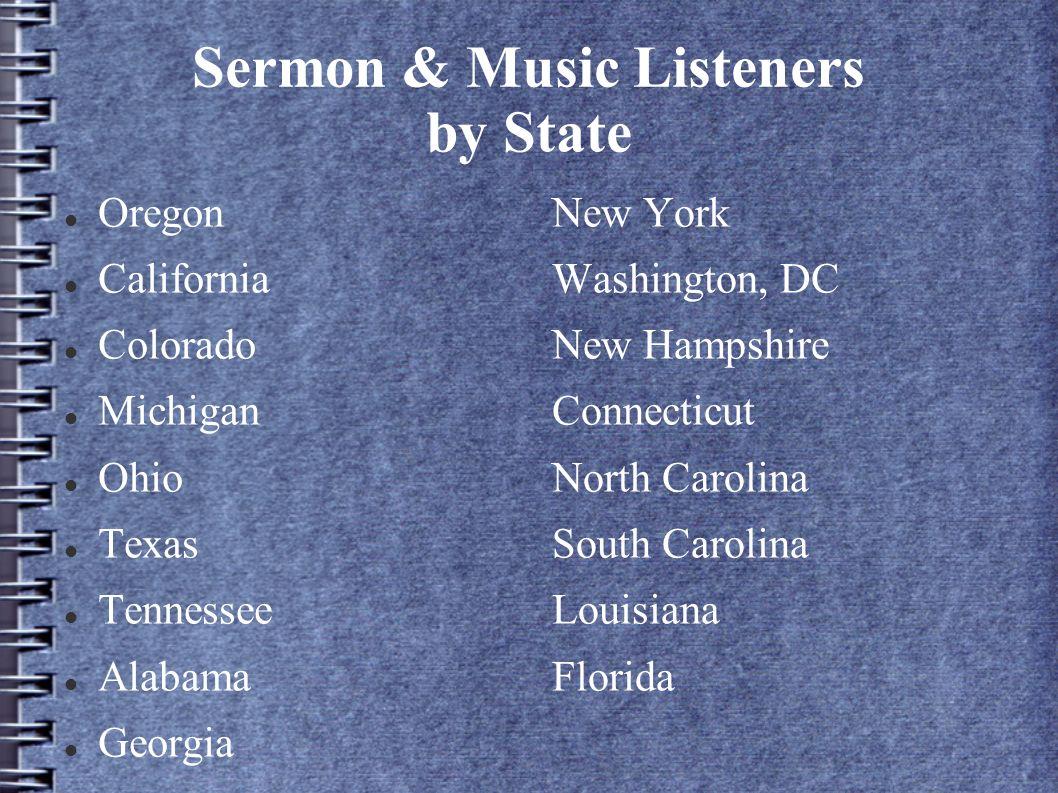 Sermon & Music Listeners by State Oregon California Colorado Michigan Ohio Texas Tennessee Alabama Georgia New York Washington, DC New Hampshire Conne
