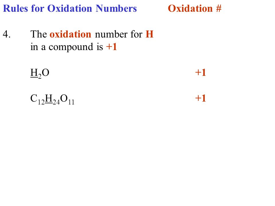 Rules for Oxidation NumbersOxidation # 4.The oxidation number for H in a compound is +1 H 2 O+1 C 12 H 24 O 11 +1