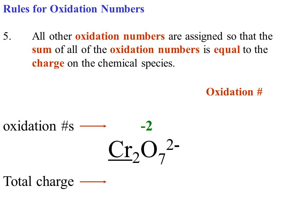 Rules for Oxidation Numbers 5.All other oxidation numbers are assigned so that the sum of all of the oxidation numbers is equal to the charge on the c