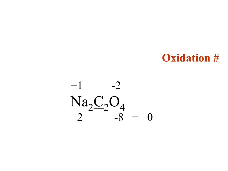 Oxidation # +1 -2 Na 2 C 2 O 4 +2 -8 = 0