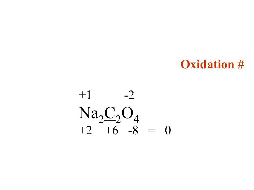 Oxidation # +1 -2 Na 2 C 2 O 4 +2 +6 -8 = 0