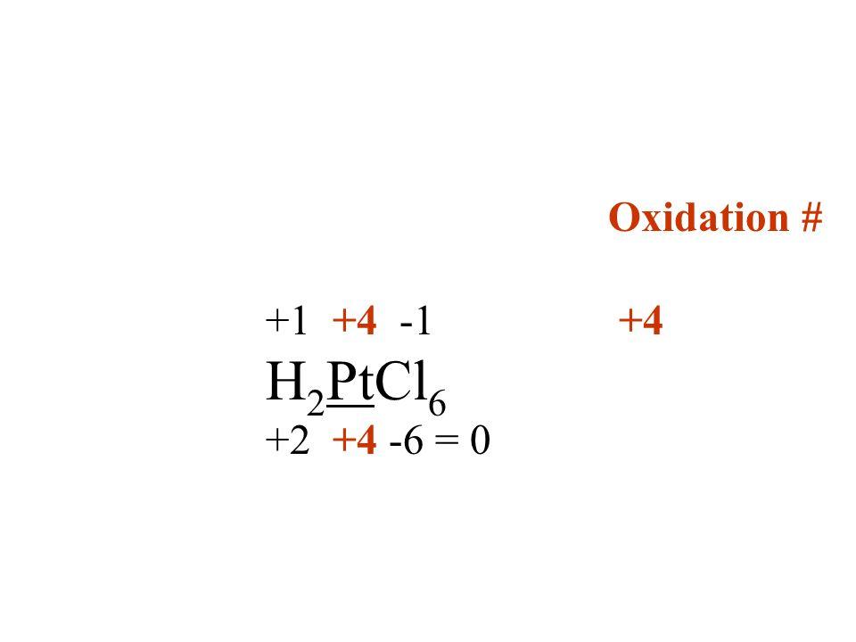 Oxidation # +1 +4 -1 +4 H 2 PtCl 6 +2 +4 -6 = 0