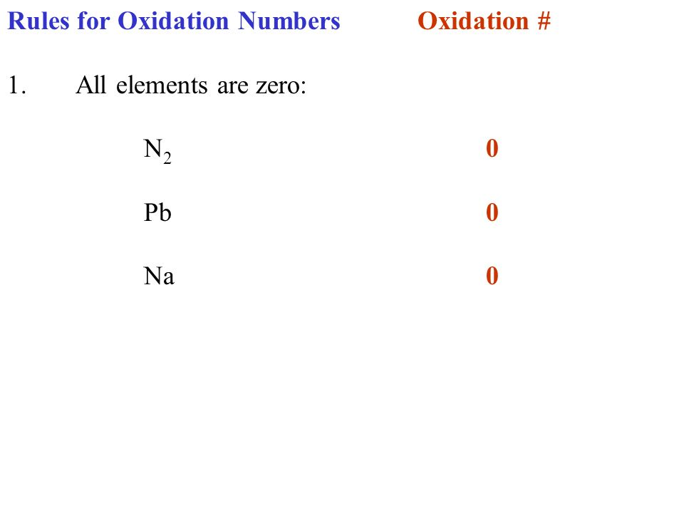Rules for Oxidation NumbersOxidation # 1.All elements are zero: N 2 0 Pb 0 Na0 O 2