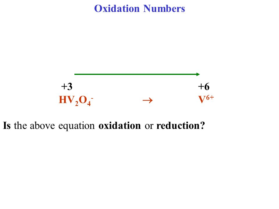 Oxidation Numbers +3 +6 HV 2 O 4 - V 6+ Is the above equation oxidation or reduction?