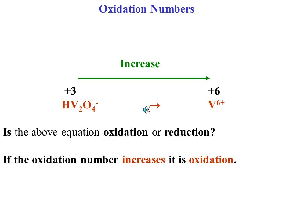 Oxidation Numbers Increase +3 +6 HV 2 O 4 - V 6+ Is the above equation oxidation or reduction? If the oxidation number increases it is oxidation.