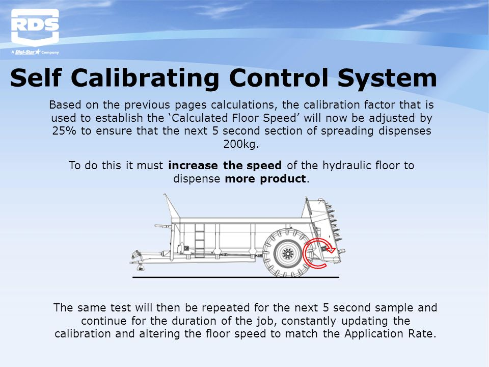Self Calibrating Control System Based on the previous pages calculations, the calibration factor that is used to establish the Calculated Floor Speed