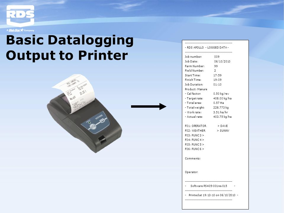 Basic Datalogging Output to Printer ---------------------------------------- - RDS APOLLO - LOGGED DATA - ---------------------------------------- Job