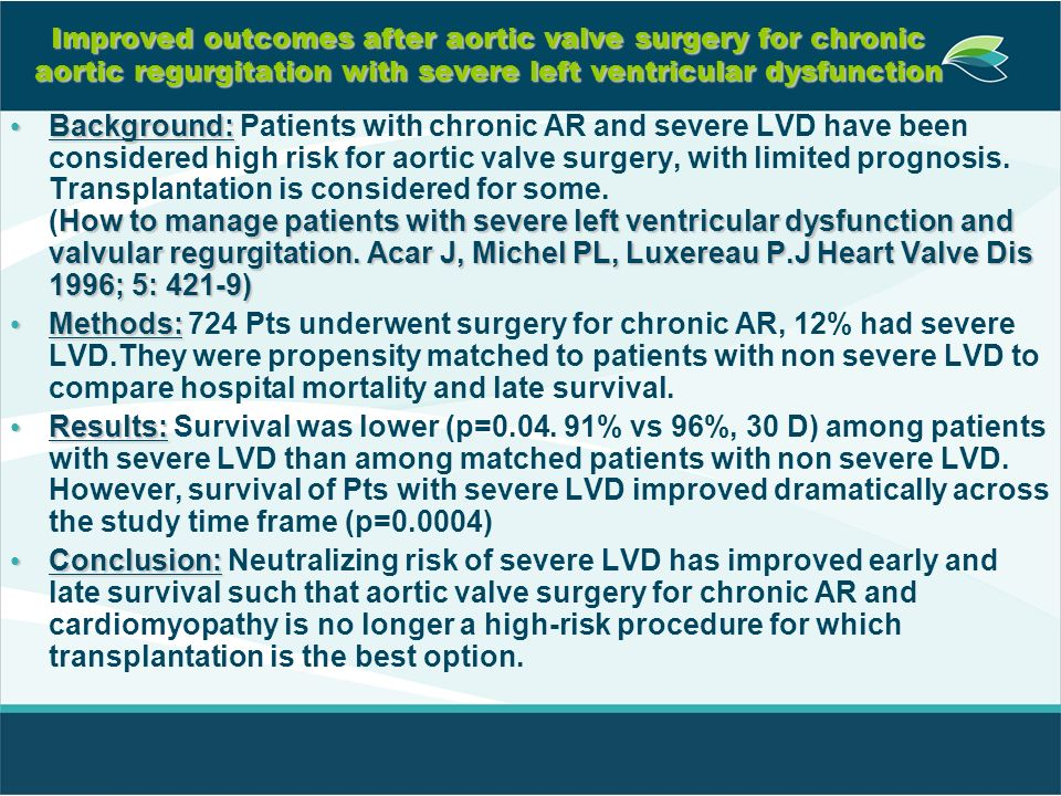 Improved outcomes after aortic valve surgery for chronic aortic regurgitation with severe left ventricular dysfunction Background: How to manage patie