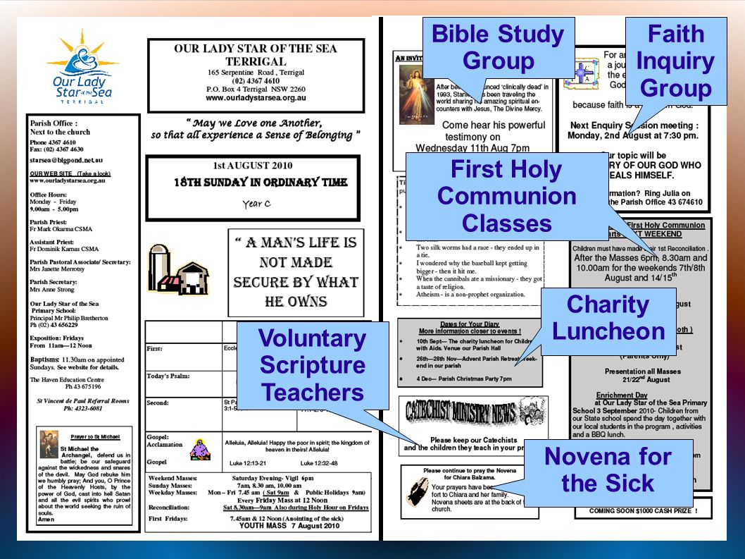 Bible Study Group Voluntary Scripture Teachers First Holy Communion Classes Faith Inquiry Group Novena for the Sick Charity Luncheon