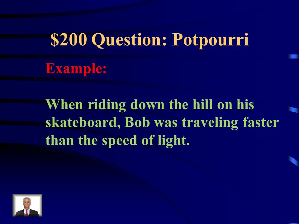 $100 Answer: Potpourri What is: Point Evidence Analysis