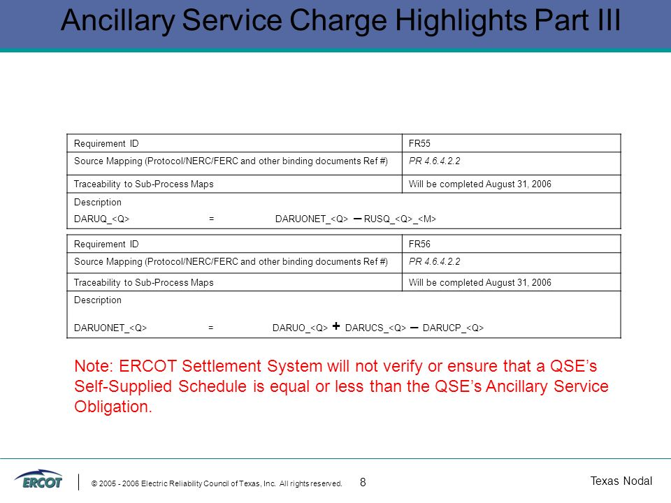 Texas Nodal © 2005 - 2006 Electric Reliability Council of Texas, Inc. All rights reserved. 8 Ancillary Service Charge Highlights Part III Requirement