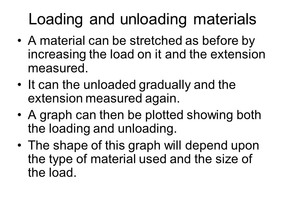 Loading and unloading materials A material can be stretched as before by increasing the load on it and the extension measured. It can the unloaded gra
