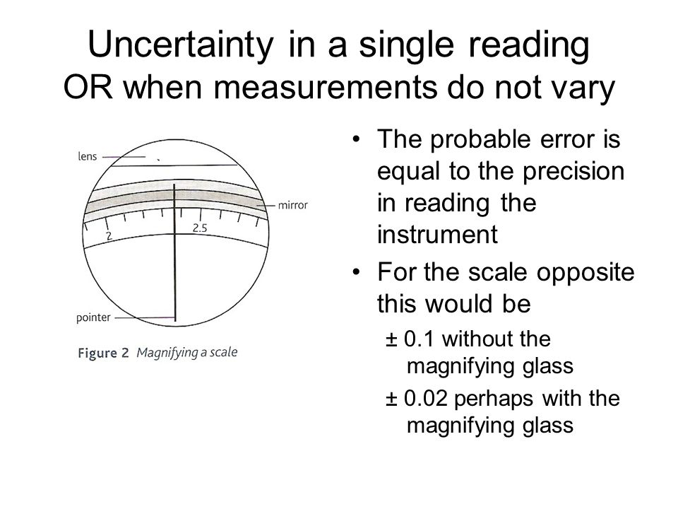 Uncertainty in a single reading OR when measurements do not vary The probable error is equal to the precision in reading the instrument For the scale