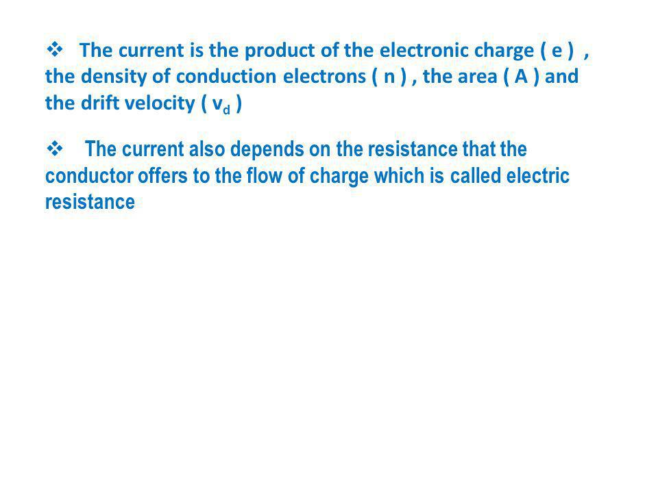 The relation between the current in a wire with the density of conduction electrons and their drift velocity Let n be the number of mobile charge carr